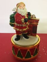 Musical Turning Father Christmas at Chimney Ornament ~ Plays Music!